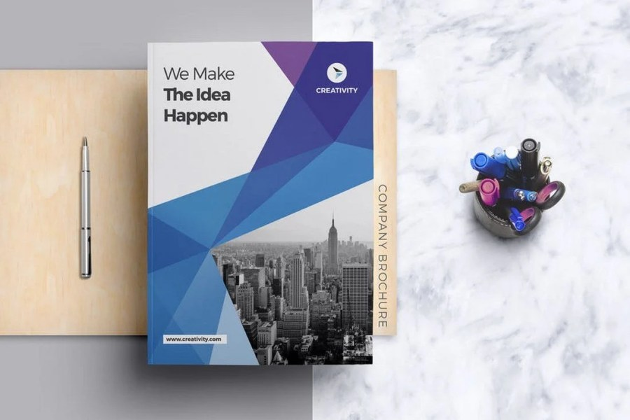 70  Modern Corporate Brochure Templates   Design Shack You get a beautiful corporate business brochure in 2 sizes with this  template  It also includes 20 pages with custom designs featuring a 6 12  content column