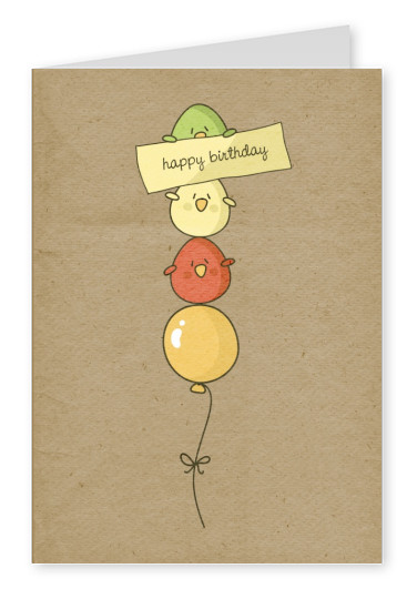 Customized FREE Printabele Birthday Cards   Send Online   Printed     little balloons vintage cartoon happy birthday graphics postcard greeting  card