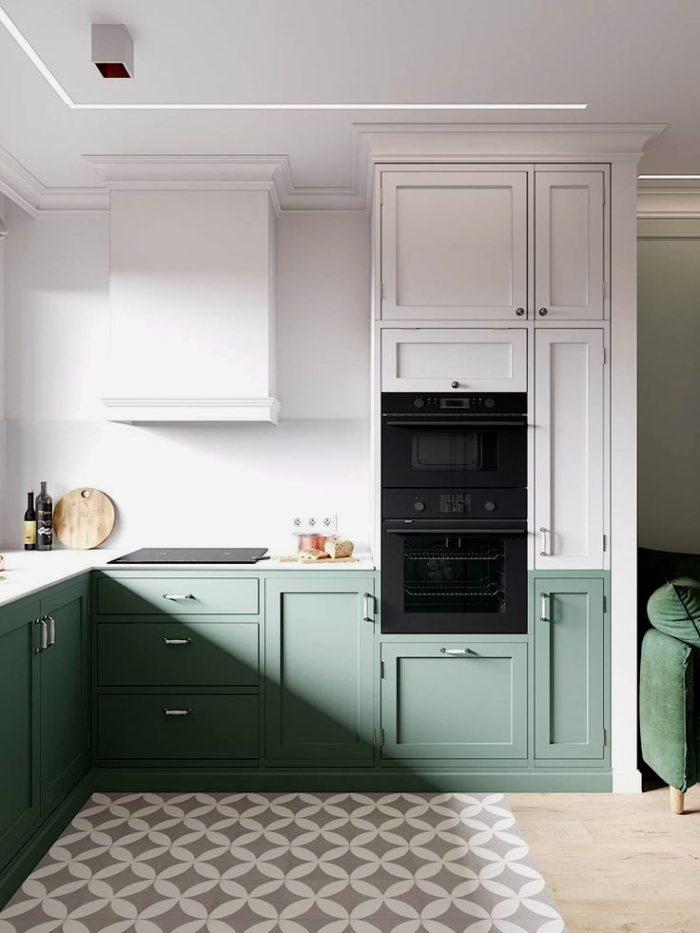 Blank blått kök