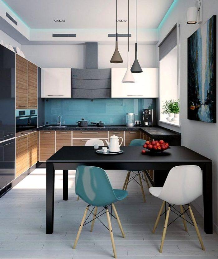 Kombination av färger i vitt kök