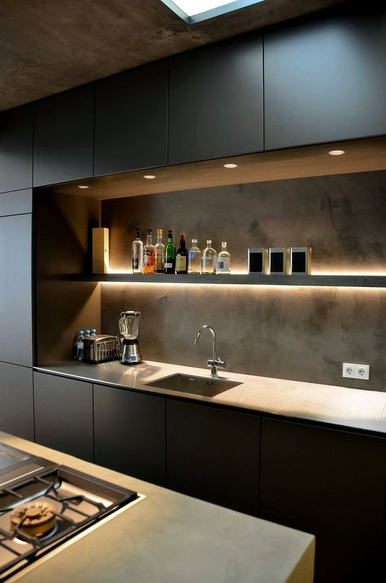 Modernt designkök i loftstil