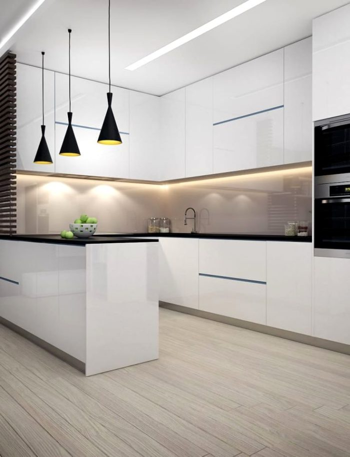 Köksdesign i en lägenhet med element av minimalism och loftstilar