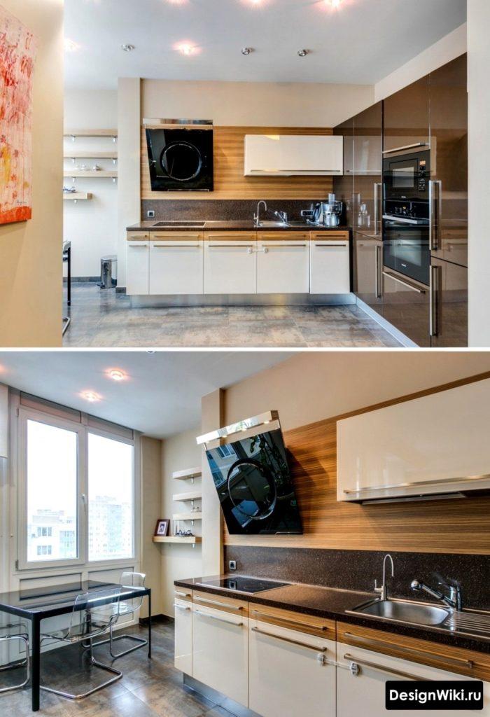 Designer kök med bänkskiva och marmorförkläde