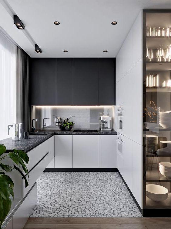 Kök i stil minimalism i en två-nivå lägenhet