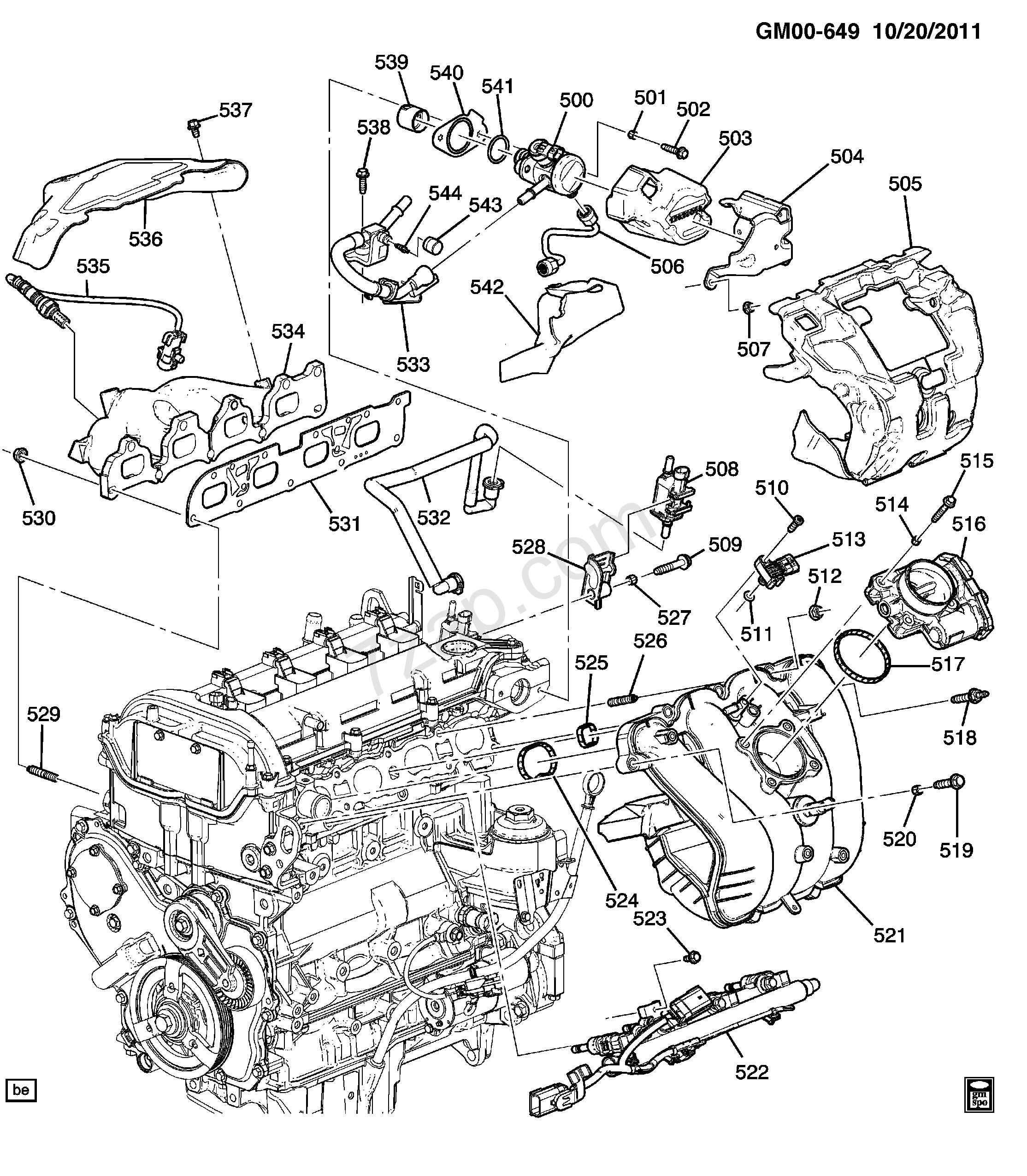 Gm parts diagrams with part numbers 2014 2017 pu75 engine asm 2 4l l4 part 5