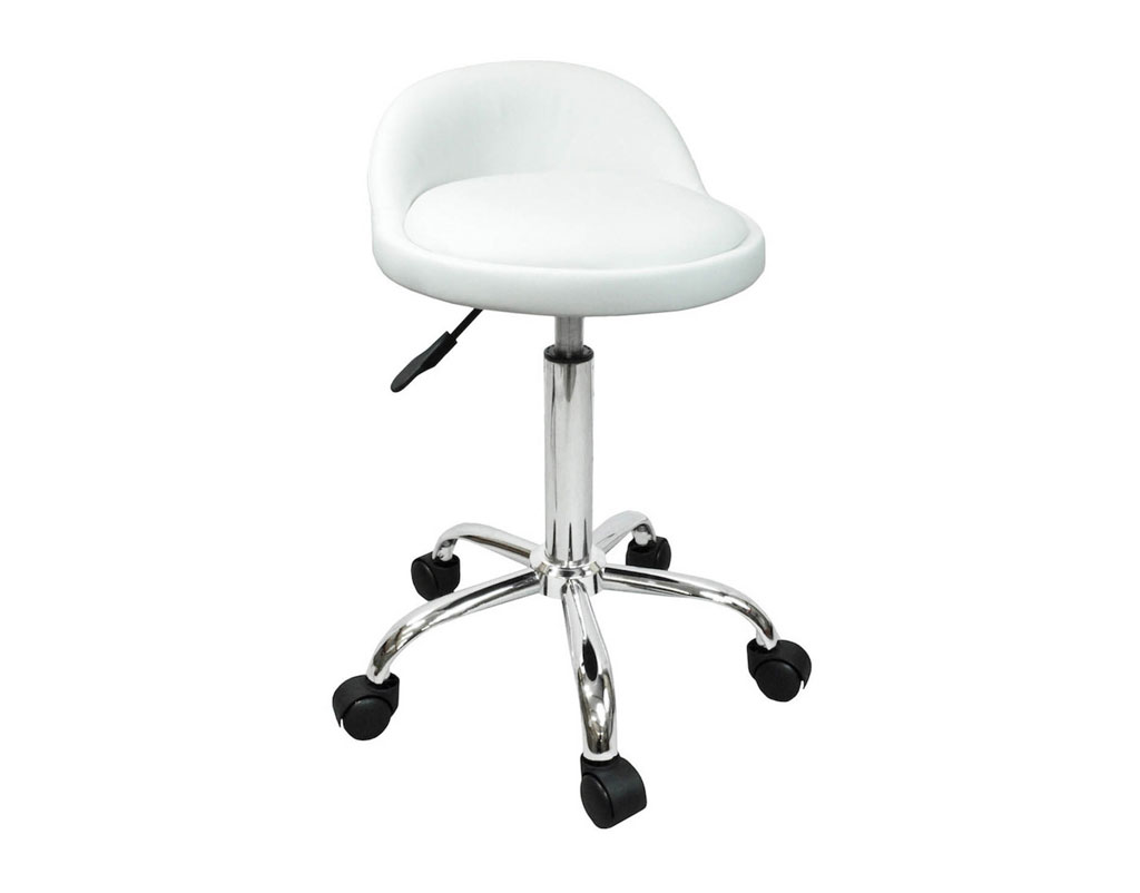 Brilliant Salon Stool With Back Rest Saddle Hydraulic Spa Stool White Gmtry Best Dining Table And Chair Ideas Images Gmtryco
