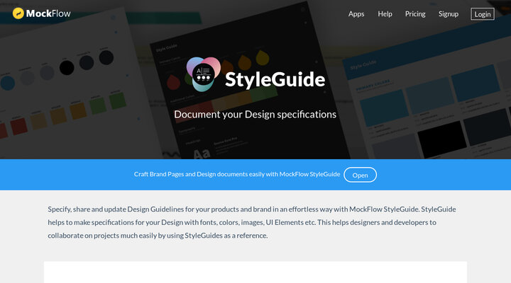 MockFlow   Online Wireframe Tool and Design Cloud   Hypershoot MockFlow StyleGuide   Create Design Guidelines and UI Specifications