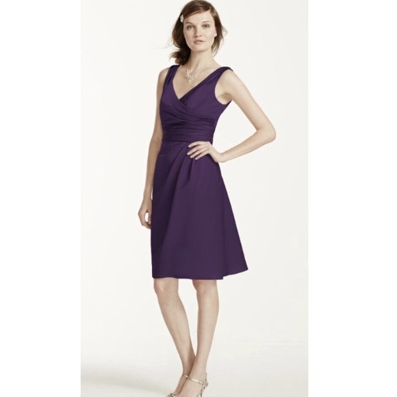 David s Bridal Dresses   Davids Bridal Plum Short Dress Style Number     Davids Bridal Plum short dress style number f14823
