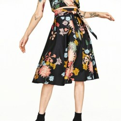24e3548341 Zara Skirts Floral Print Skirt Black Floral 2382 Xs Or S Poshmark
