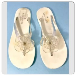 28eb7f3f7 Kate Spade Shoes White And Silver Flower Flipflops Poshmark