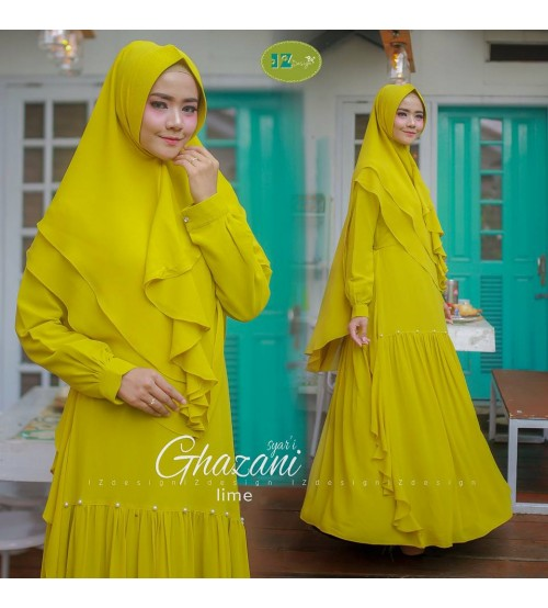 Image Result For Model Baju Gamis Brokat Kuning Kombinasi Polos