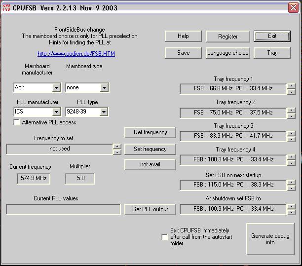 Jak přetaktovat procesor pomocí cpufsb