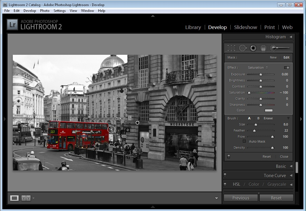 Highlight Color Effect in Lightroom   5 Easy Steps You can now tidy up the edges if necessary by using the Adjustment Brush  tool     just make sure that you click on the marker for the Adjustment  before you
