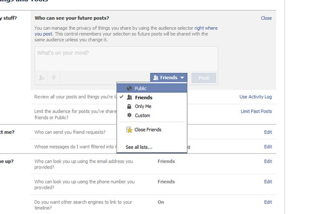 Facebook Friend Lists Privacy Settings