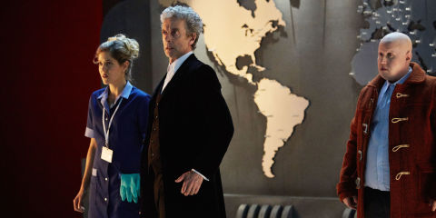 Lucy (CHARITY WAKEFIELD), The Doctor (PETER CAPALDI), Nardole (MATT LUCAS) in 'Doctor Who' Christmas special
