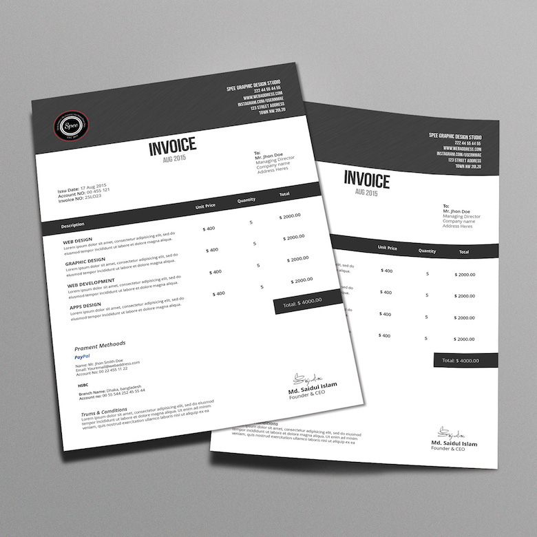 35 Creative Invoices Designed To Leave A Good Impression On Clients Creative invoice bill designs to impress clients   27