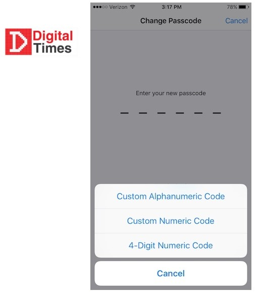 passcode-options in iPhone