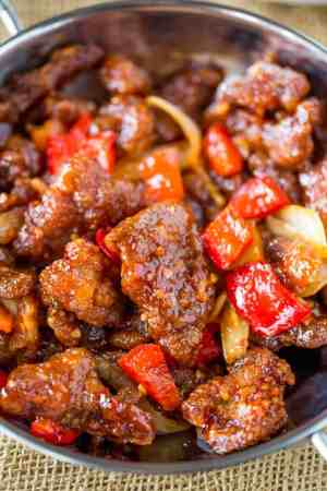 Panda Express Beijing Beef  Copycat    Dinner  then Dessert Panda Express Beijing Beef is an awesome copycat of the original with  crispy strips of marinated beef  bell peppers and sliced onions  tossed in  the wok
