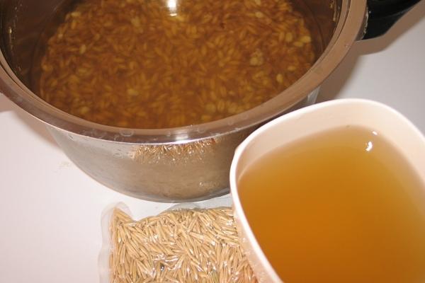 Ham yulaf kullanın. Emaye yemeklerine bir avuç hammadde yerleştirilmeli, 1,5 litre su eklenmeli ve yarım saat kaynatılmalıdır. Böyle bir içki çay yerine kullanılır. 20 gün devam etmek için terapi.
