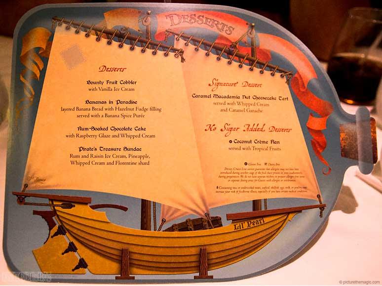 Pirates In The Caribbean Dinner Menu The Disney Cruise