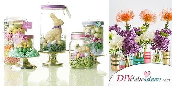 Weitere entzückende DIY Bastelideen für Gläser dekorieren zu Ostern