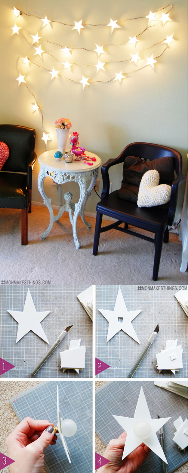 33 Awesome DIY String Light Ideas String Light DIY ideas for Cool Home Decor   Star Garland Christmas Light  DIY are Fun