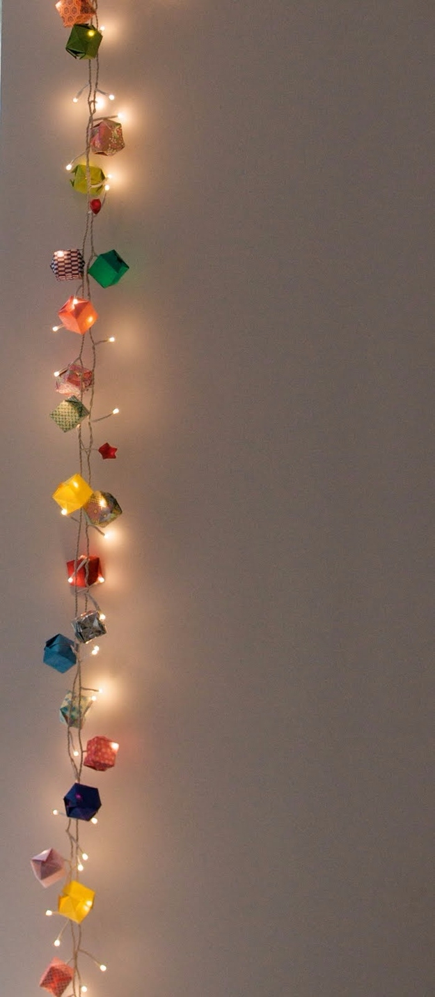 33 Awesome DIY String Light Ideas String Light DIY ideas for Cool Home Decor   Origami Garland Hanging Lights  are Fun for