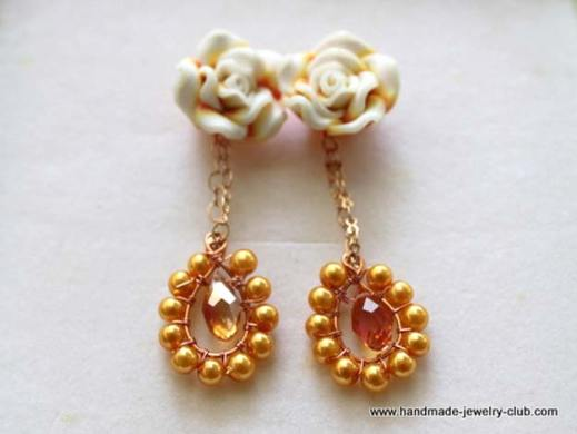 50 More Crafts for Teens to Make and Sell Crafts to Make and Sell   Rosy Dangling Earrings   Easy Step by Step  Tutorials for