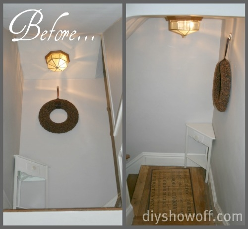 Diy Show Off Budget Friendly Stairwell Landing Makeoverdiy Show | Staircase Landing Wall Design | Rural | Foot Stair | Pinterest | Interior | Wood Handrail Pasted