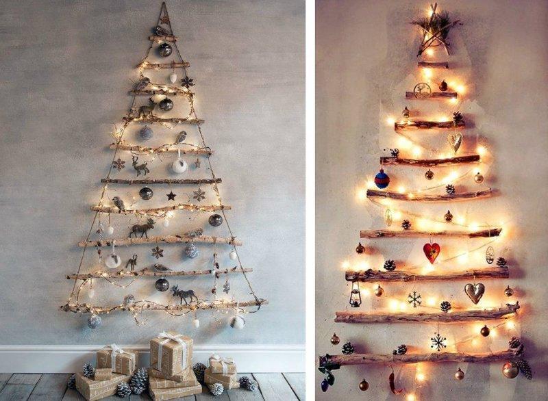 Árbol de Navidad en la pared con tus propias manos.