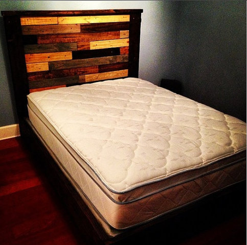 Rustic Platform Bed W Multicolor Plank Headboard