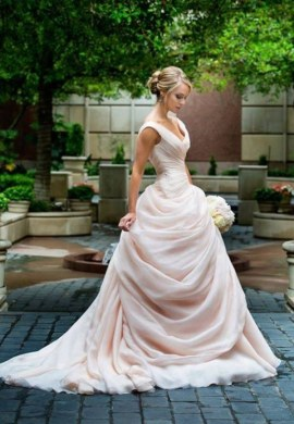 Blush Pink Wedding Dresses Princess V neckline Ruffled Organza     File 0fda1084cd original