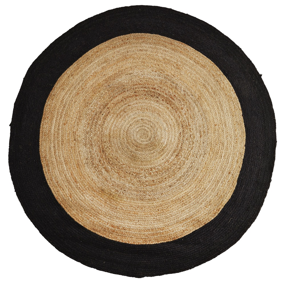 Rugs   Cowhides   CuriousEgg     688 00      round rattan woven rug with black band small size