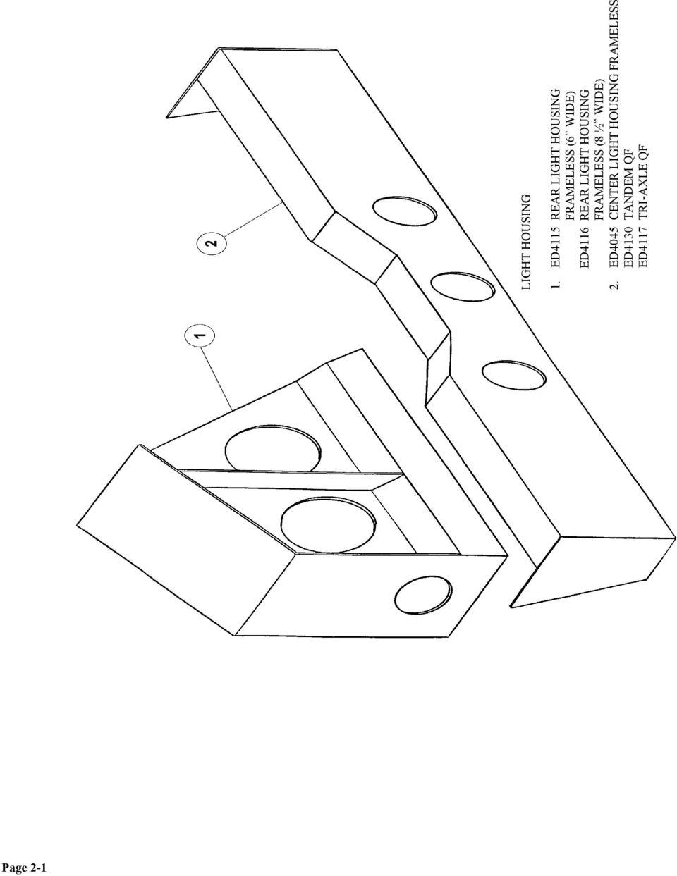 Ed4116 rear light housing frameless 8 ½ wide 2