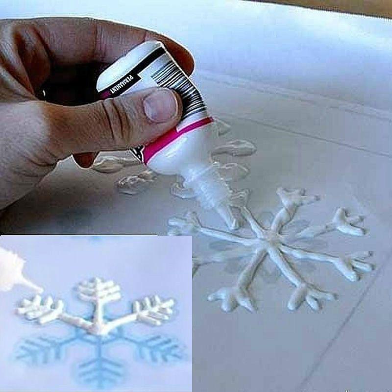 วาดเกล็ดหิมะ PVA