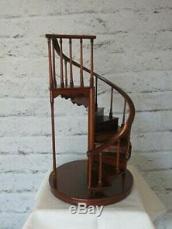 Maitland Smith Mahogany Spiral Staircase Miniature Doll House | Antique Spiral Staircase For Sale | French | Wooden | Old Fashioned | Wood Antique | Cast Iron