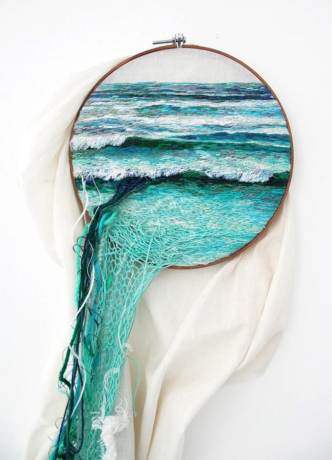 Жүннен жасалған жіптерден жасалған теңіз тақырыптарын ерекше орналастыру
