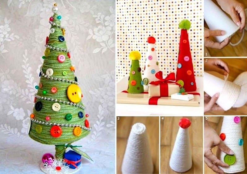 Процесс изготовления декоративной елки из бумаги и нитей