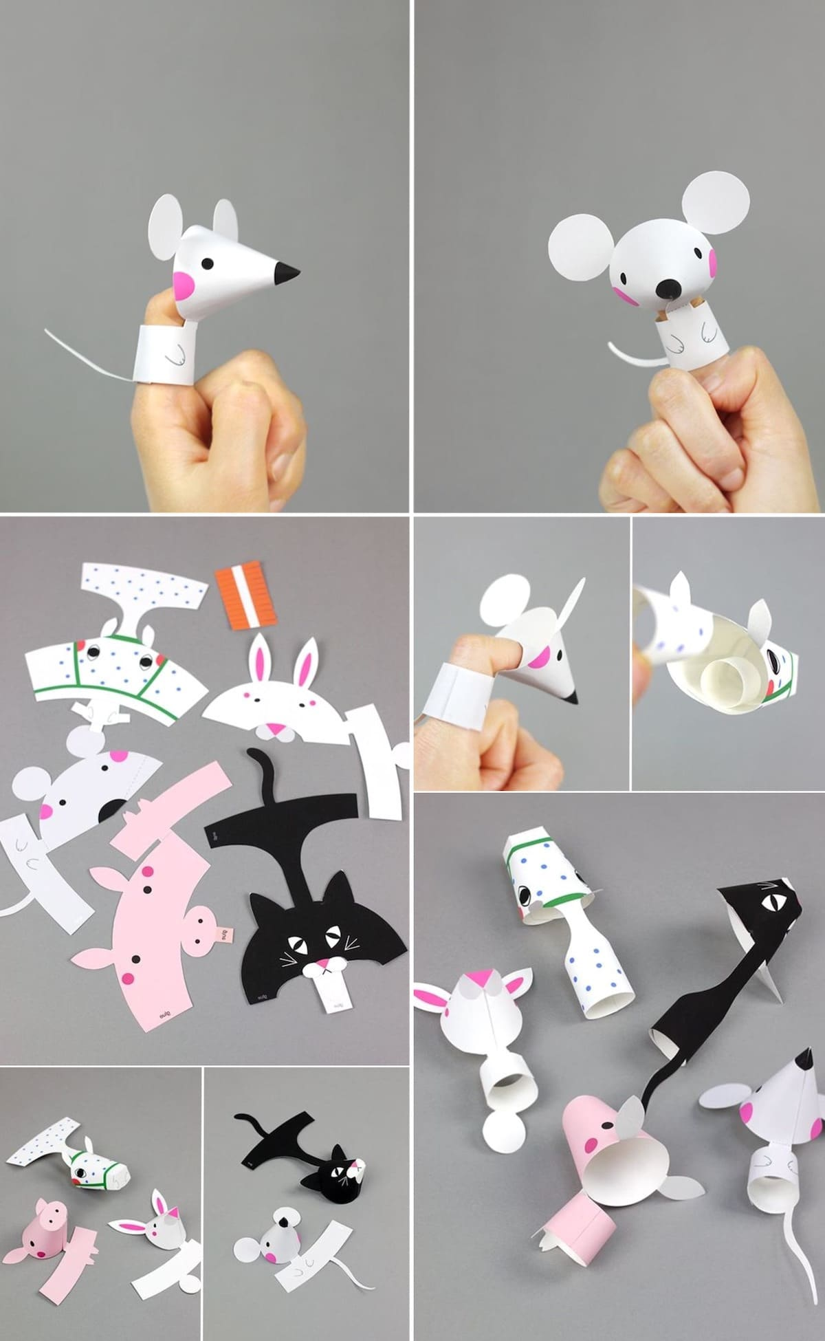 Interesting paper toys for kids dressed on your fingers