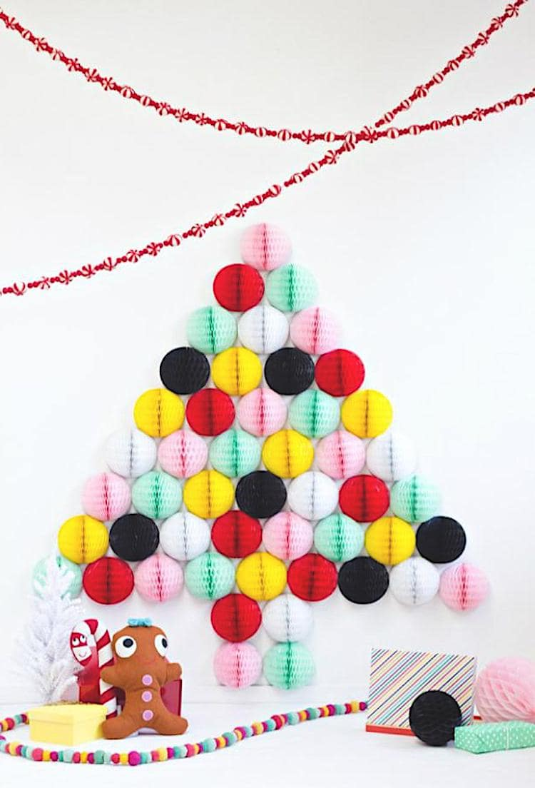Exotic version of the Christmas tree made of paper balloons