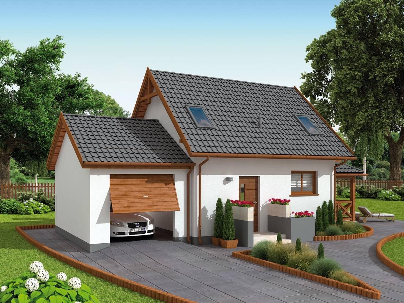Tandem dinding putih dan atap hitam terlihat bergaya dan secara ringkas dalam kinerja apa pun.