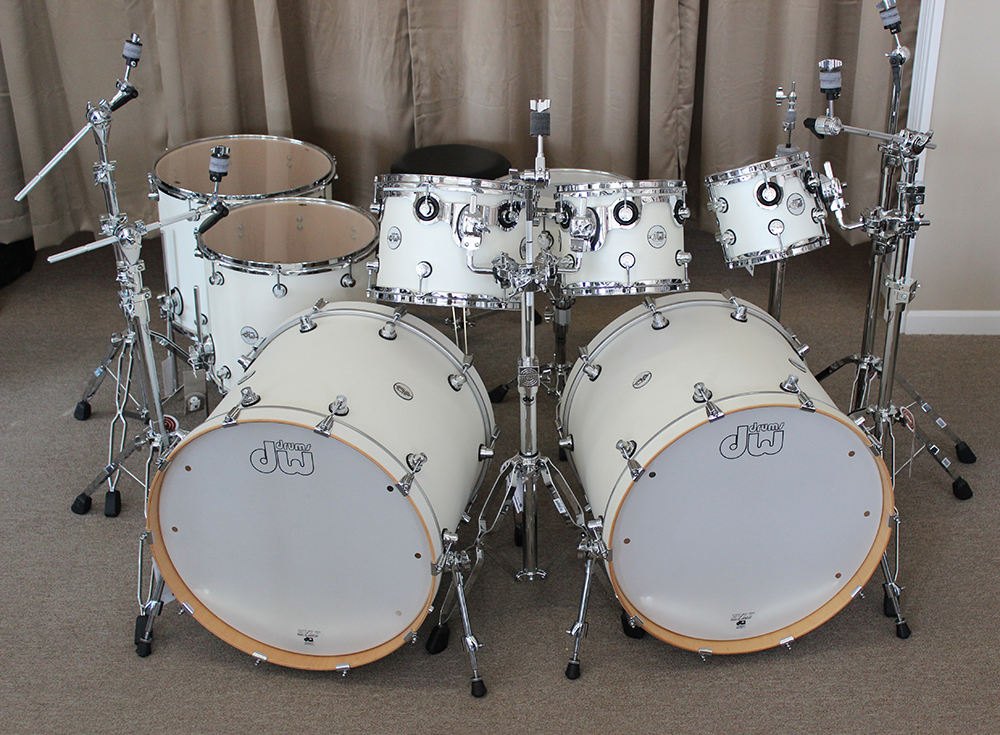 DW Design Series 8 piece Double Bass Drum Set in White Satin   Don     DW Design Series 8 piece Double Bass Drum Set