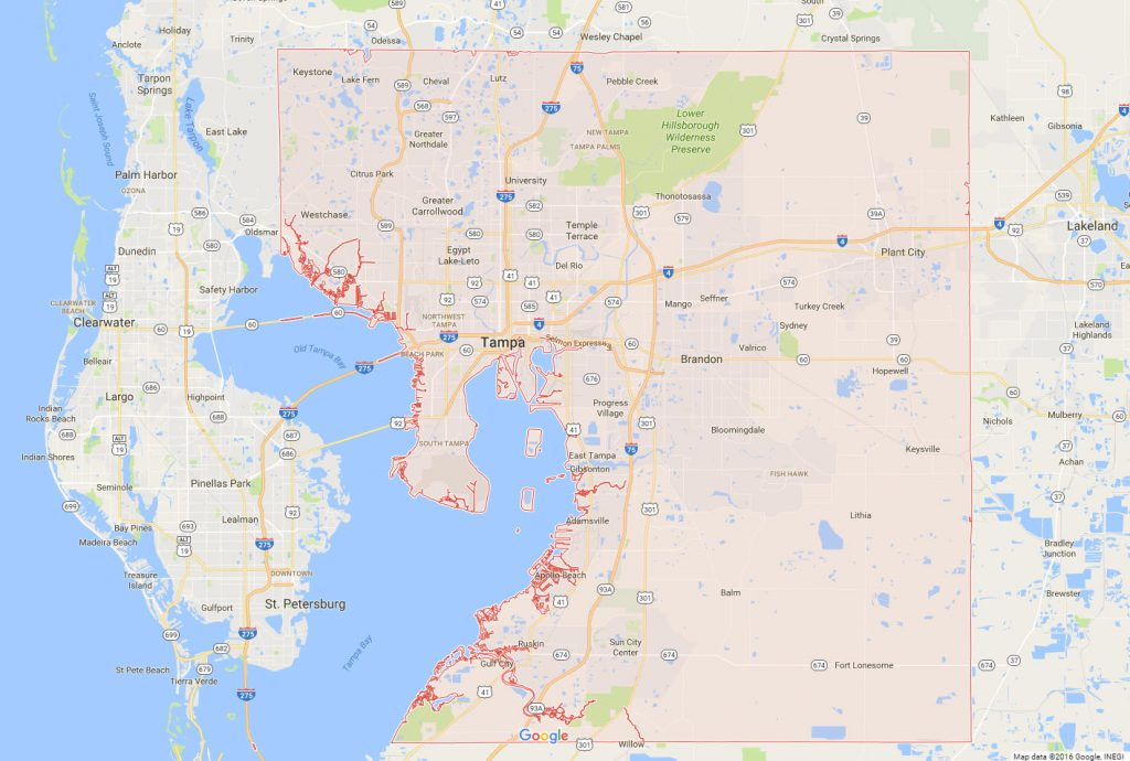 Tampa Painting Service Map   Don s Painting serving Hillsborough County dons painting service area map
