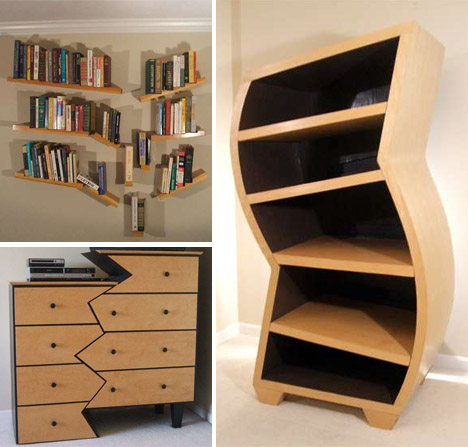 Creative Custom Curved Wooden Bookcases Amp Dressers