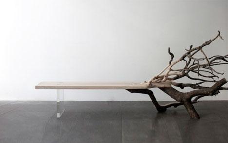 Fallen Tree Bench Organic Chaos Meets Linear Minimalism