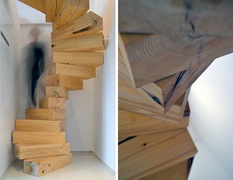 Jenga Style Steps Giant Spiral Stairs Made Of Wood Blocks   Stairs Made Of Wood   5 Step   Elegant   Solid Oak   Traditional   3 Step