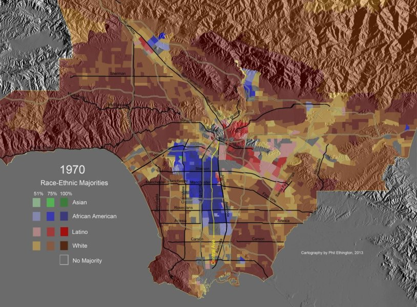 Race Ethnic Majority Map  Los Angeles County  1970  Highlighting     Race Ethnic Majority Map  Los Angeles County  1970  Highlighting Central  Avenue