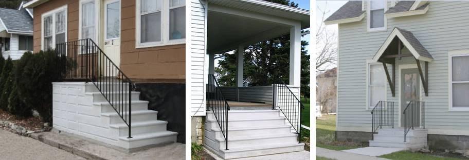 Precast Steps Railings Doty Concrete   Railing For Cement Steps   Precast Concrete   Redwood   Steep Outdoor Step   Commercial Concrete   Elderly
