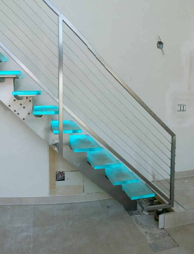 Glass Stair Treads Downing Designs | Stainless Steel Glass Staircase | Transparent | Handle | Powder Coated Steel | Open Tread | Black Stained
