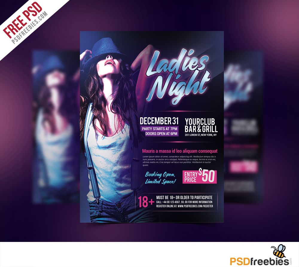 Ladies Night Party Flyer Free PSD Template Download   Download PSD Ladies Night Party Flyer Free PSD Template